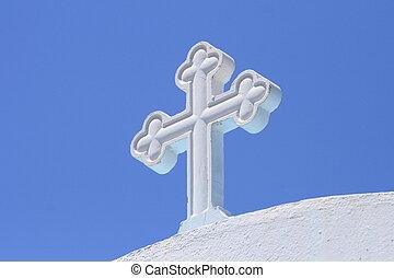 blanc, croix, sous, ciel bleu