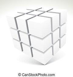 blanc, cubes, 3d