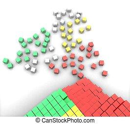 blanc, cubes, fond, coloré, 3d