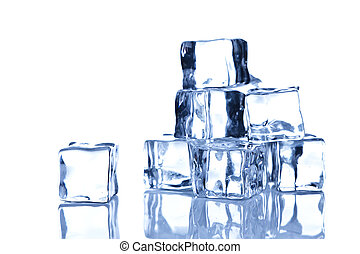 blanc, cubes, fond, isolé, glace