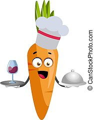 blanc, cuisine, illustration, carotte, vecteur, arrière-plan.