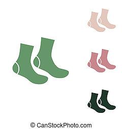 blanc, désert, ceux, jungle, petit, chaussettes, signe., arrière-plan., puce, vert, sable, vert, illustration., icône, russe