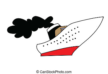 blanc, dessin, fond, navire vapeur