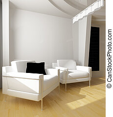 blanc, dessin, salle