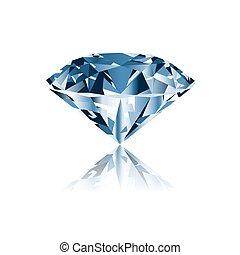 blanc, diamant, isolé