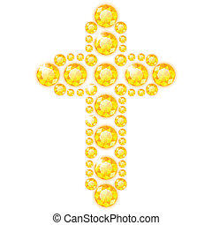 blanc, diamants, croix, isolé