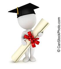 blanc, diplômé, 3d, gens