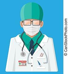 blanc, docteur, manteau, stethoscope.