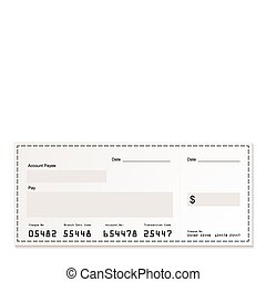 blanc, dollar, chèque