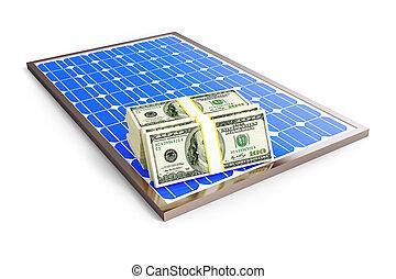 blanc, dollar, solaire, fond, panneau