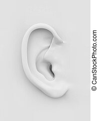 blanc, doux, ear., humain, 3d