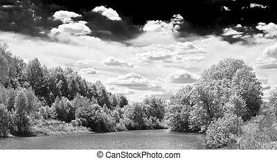 blanc, dramatique, noir, paysage