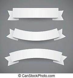 blanc, drapeaux, papier, ondulé, rubans, ou, ensemble