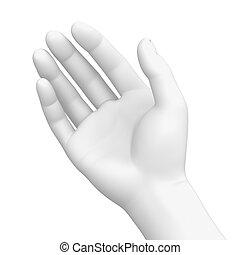 blanc, droit, -, tenant main