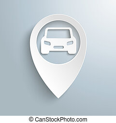 blanc, emplacement, marqueur, voiture