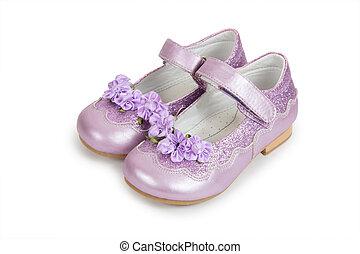 blanc, enfants, chaussures