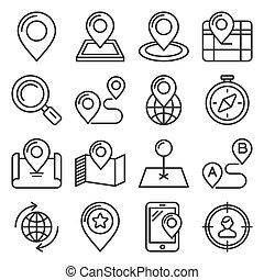 blanc, ensemble, arrière-plan., carte, style, emplacement, vecteur, ligne, icônes