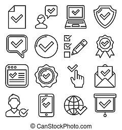 blanc, ensemble, arrière-plan., style, vecteur, chèque, approuver, ligne, icônes
