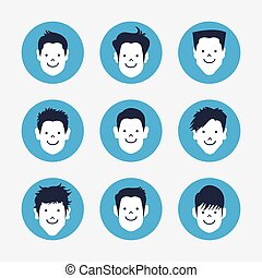 blanc, ensemble, avatar, icônes