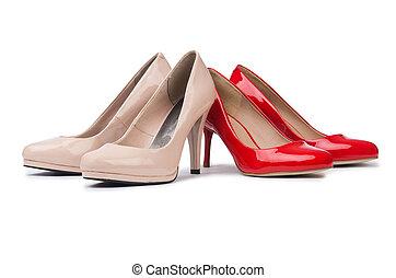 blanc, ensemble, chaussures, fond, isolé