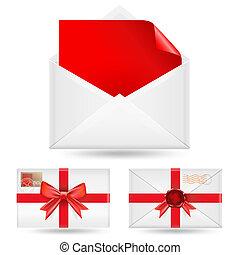 blanc, ensemble, enveloppes