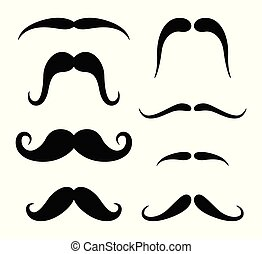 blanc, ensemble, hipster, moustache, fond