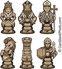 blanc, ensemble, morceaux échecs