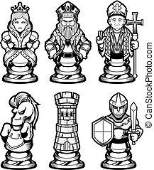 blanc, ensemble, noir, morceaux échecs