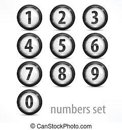 blanc, ensemble, nombres