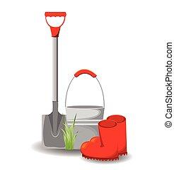 blanc, ensemble, outils, jardin
