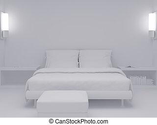 blanc, ensemble, sept, chambre à coucher