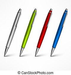 blanc, ensemble, stylos, coûteux