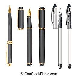 blanc, ensemble, stylos