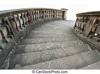 blanc, escalier, arrière-plan., isolé, pierre