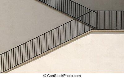 blanc, escalier