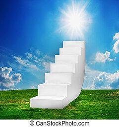 blanc, escalier, sur, les, field., manière, à, reussite
