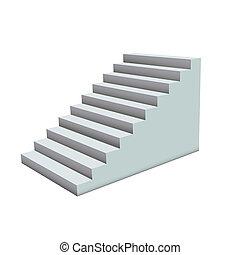 blanc, escaliers.