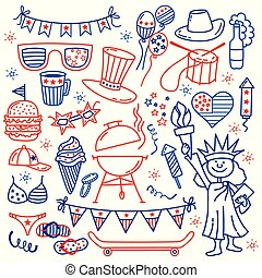 blanc, etats, 4, july., vecteur, griffonnage, isolé, jour, illustration, usa, symboles, dessiner, main, arrière-plan., indépendance, style, traditionnel, icônes, uni