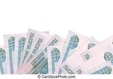 blanc, factures, gabarit, fond, mensonges, rubles, 1000, écran, space., fond, copie, côté, isolé, bannière, russe
