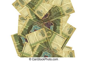 blanc, factures, voler, rubles, beaucoup, 500, tomber, copyspace, bas, droit, isolé, billets banque, côté, russe, white., gauche