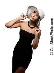blanc, femme, chapeau, isolé, fond