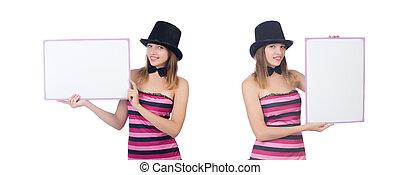blanc, femme, chapeau, jeune, isolé