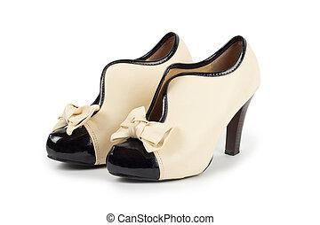 blanc, femme, chaussures, fond, isolé