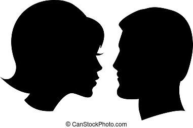 blanc, femme, face homme
