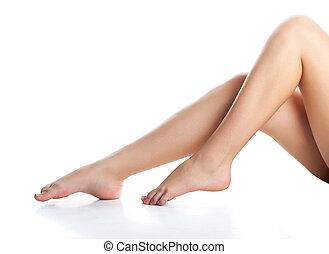 blanc, femme, fond, isolé, legs.