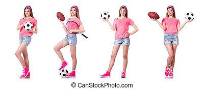 blanc, femme, football