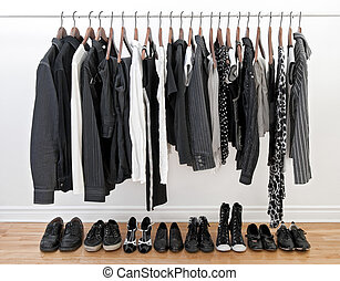 blanc, femme, noir, vêtements