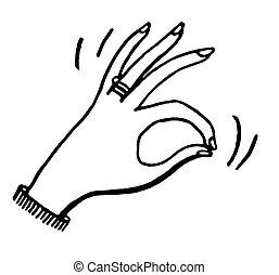 blanc, femme, noir, version, main