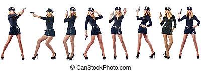 blanc, femme, police, isolé, officier