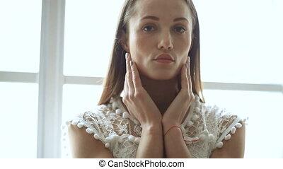 blanc, femme, robe
